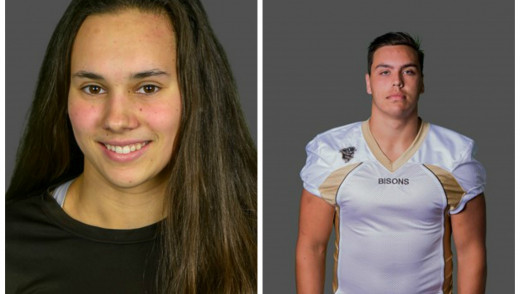 Kelsey Wog and Derek Dufault are Boston Pizza Bison Sports Athletes of the Week