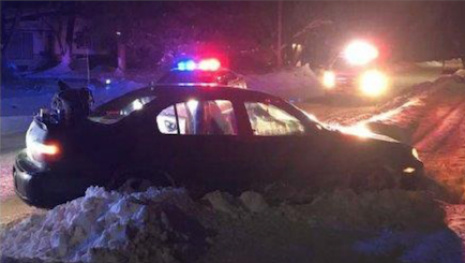 Police Chase Ends in Snowbank