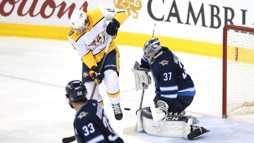 Bruins push Jets to OT, fall in shootout