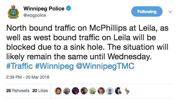 Sink Hole Causing Traffic Issues on McPhillips