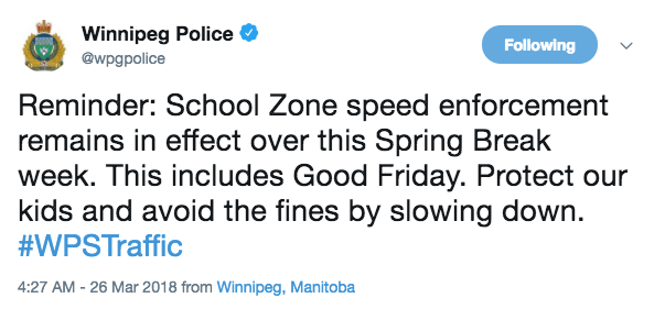 Police Remind Drivers - School Zones Take NO Breaks