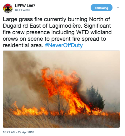 BREAKING - Large Grass Fire Burning North of Dugald