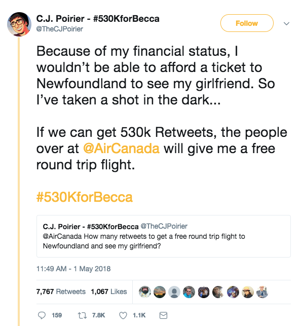 Love-Struck Man May Get Free Flights From Air Canada