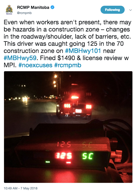 $1,490 Fine for Speeding in Construction Zone