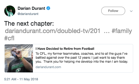 Darian Durant Announces Retirement on Twitter