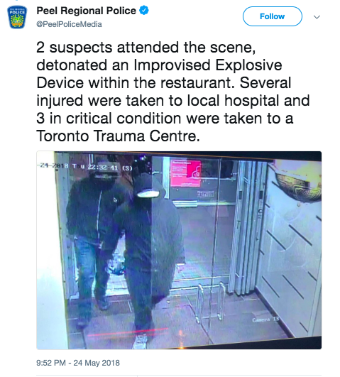 Bomb Blast Injured 15 at Mississauga Restaurant