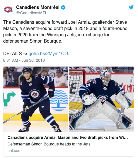 Jets Make Trade with Montreal, Gain a Defenseman & Lose Stastny to Vegas