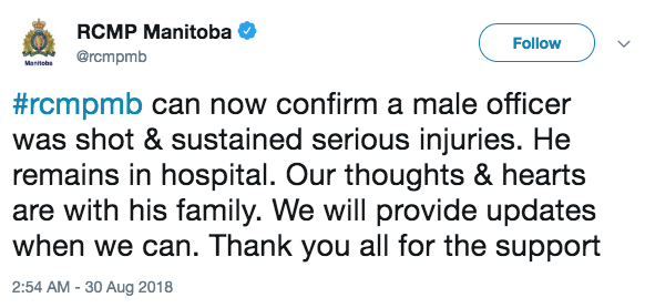 Manitoba RCMP Officer Shot