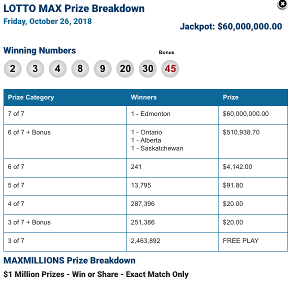 $60M Lotto Max winner