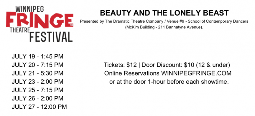 Beauty and the Lonely Beast at the 2019 Fringe Festival