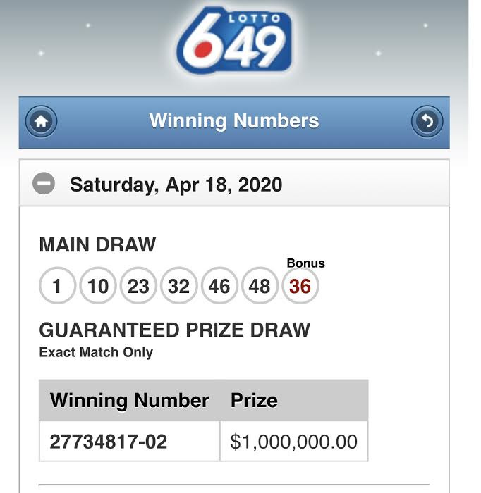 LOTTO 6/49 WINNING NUMBERS (APRIL 18TH)