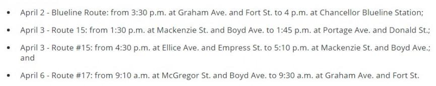 Variants On Winnipeg Transit?