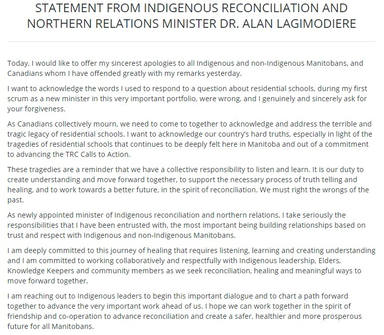 Lagimodiere Issues Apology